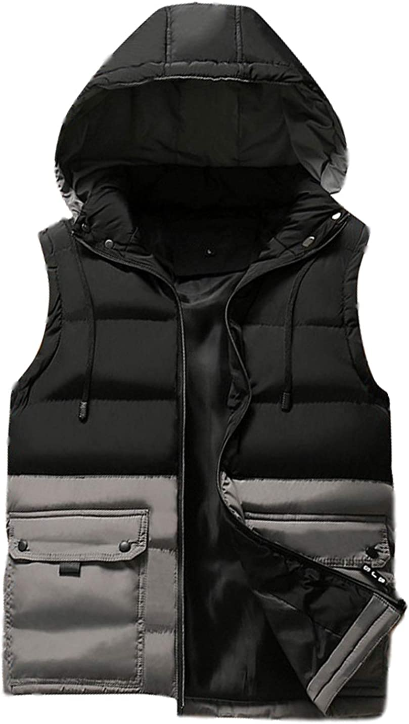 Uaneo Mens Casual Slim Sleeveless Colorblock Zipper Quilted Padded Puffy Hoodie Vest Jackets(Grey-S)