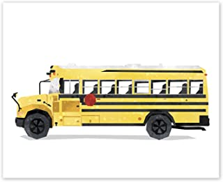 AtoZStudio School Bus Print // Nursery Wall Art // Bus Poster // Vehicles Kids Room Decor // Transportation Decor // Classroom Wall Art // Party Decoration (8x10, School Bus)