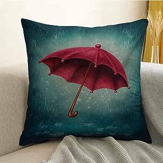 Winter Microfiber Authentic Retro Wooden Handle Under Fall Rainfall Torrent of Rain Urban Image Art Print Sofa Cushion Cover Bedroom car Decoration W20 x L20 Inch Teal