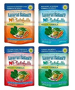 Dick Van Patten s Natural Balance Platefuls Grain Free Ultra Premium Indoor Formula Cat Food 4 Flavor 8 Pouch Variety Bundle