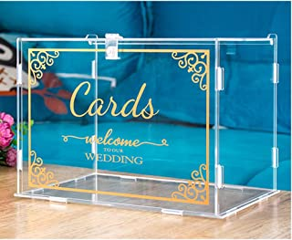 Mwater Wedding Card Box with Lock(Acrylic 11×8×8 in),Foldable,Gold Pattern