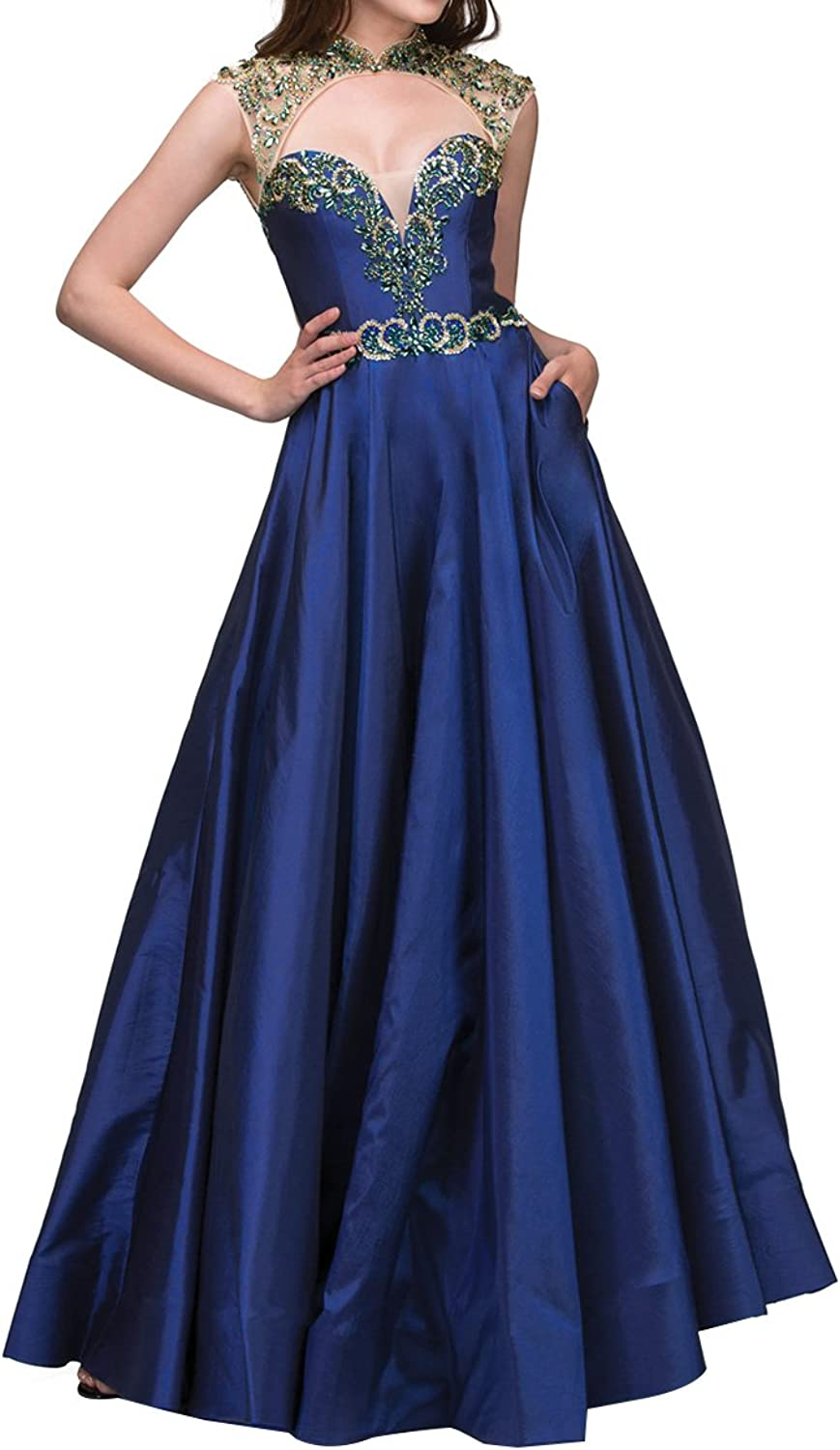 Homdor Beaded High Neck Prom Dresses Long Sweetheart ALine Backless Evening Formal Gown