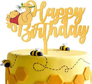 LILIPARTY Gold Acrylic Winnie Happy Birthday Cake Topper Winnie The Pooh Theme Birthday Party Suppliers Disney Cartoon Fig...