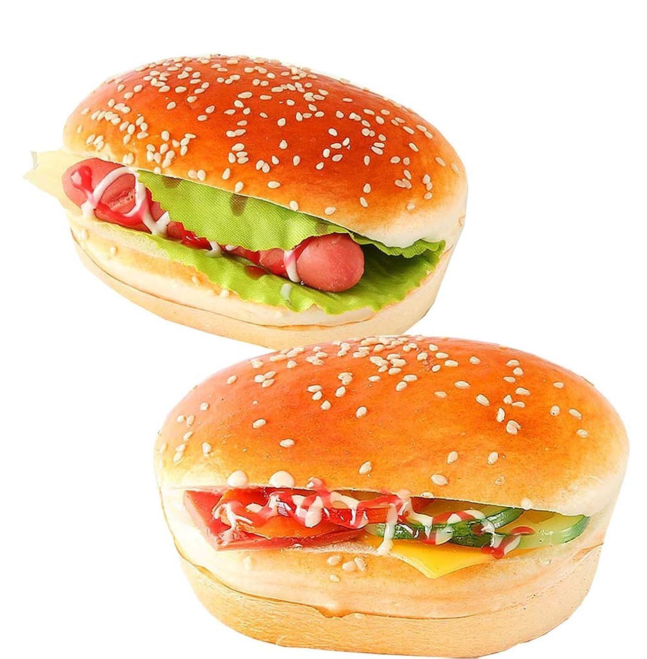 資料バレーボール不承認人工パン、フェイクパンシミュレーション食品モデルキッチンプロップ、ハンバーガー、8.1Inch、2個