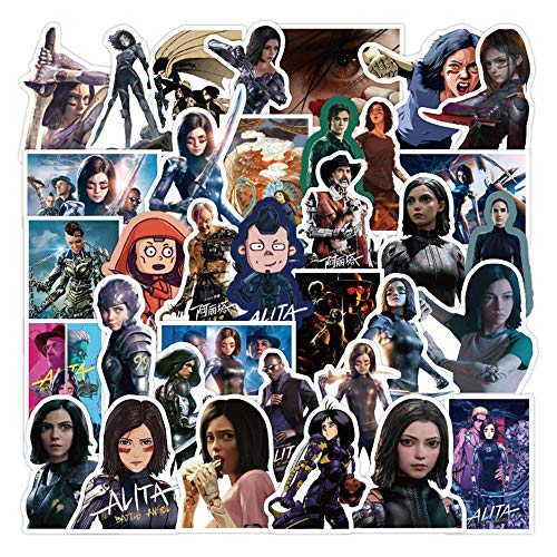 50pcs No-Duplicate Alita Sticker, Battle Angel Waterproof Vinyl Stickers for Water Bottles, Laptop Stickers, Cars, Motorbikes, Bicycle, Skateboard, Luggage, Phone, Ipad, Graffiti Decals
