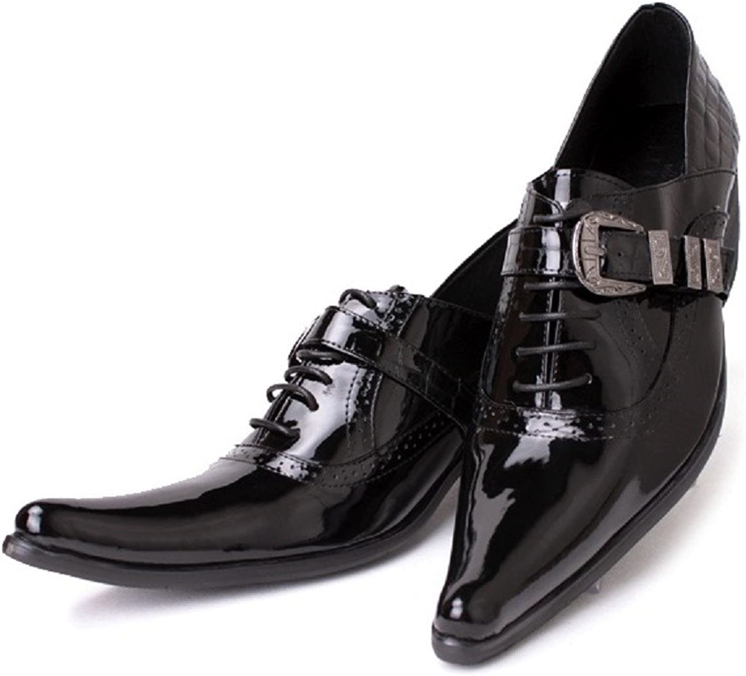 Cover Plus 2 color New Patent Leather Mens Formal Dress Lace Up Pointed Oxford shoes