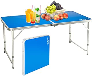 VINGLI 4 Foot Height Adjustable Folding Utility Table with Seats, Portable Multipurpose Camping Dining Picnic Table for Indoor Outdoor Party Commercial Activities (Blue)