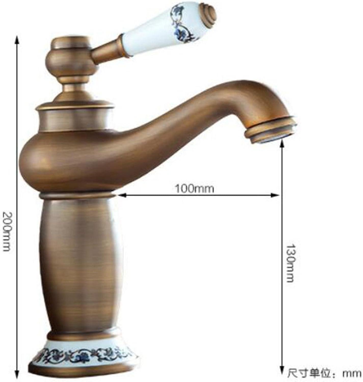LaLF Europischer Wasserhahn Messing Waschbecken Wasserhahn Waschbecken Wasserhahn Kupfer - Antik Waschbecken Becken Keramik Gold Wasserhahn heien und kalten Wasserhahn