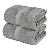 Towel Bazaar 100% Cotton Turkish Large Bath Sheet Towels, 35 x 70 Inches ( 2 Pack, Gray)