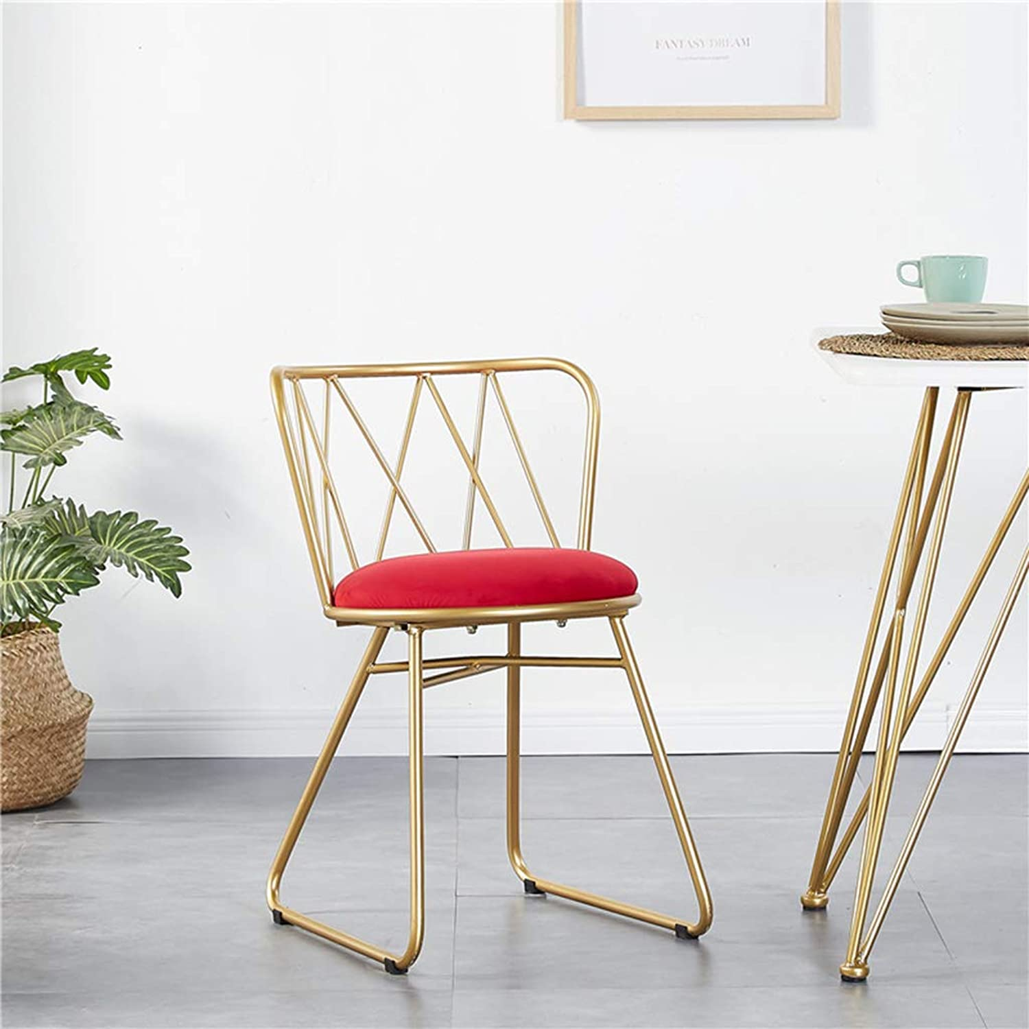 Stool Iron Art gold Armchair Bedroom Multifunction Dressing Chair European Style Environmental Predection Makeup Stool Household Simple Change shoes Bench,Red