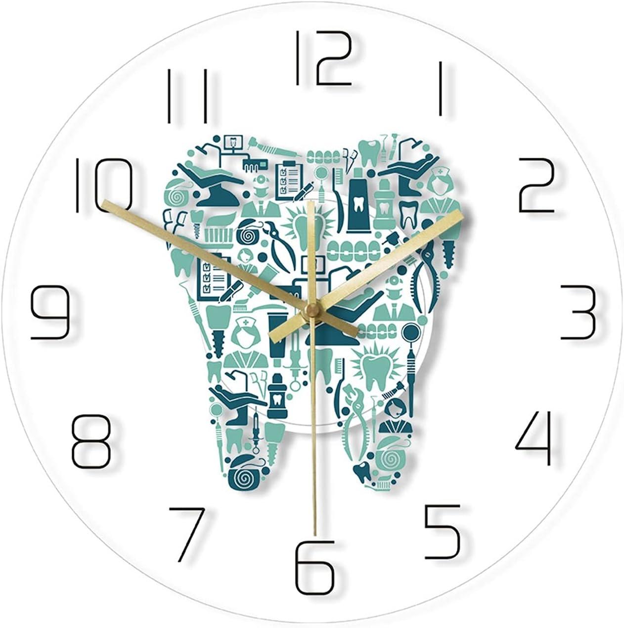 JJYGYTG Wall Clock Dental Hospital Silent Transparent Luxury Choice goods