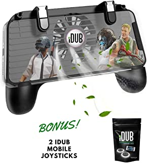 iDub Mobile Gaming Controller - Game Phone Grip with Joystick, Power Bank Charger, Cooling Fan - Android, iPhone Gamer Accessories - Finger Triggers for PUBG, Fortnite, Battle Royale, Shooting Games
