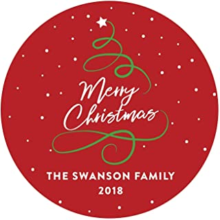 Andaz Press Personalized Christmas Round Circle Gift Sticker Labels, Red Green Calligraphy Tree, Merry Christmas, 40-Pack, Envelope Stationery Seals, Custom Name Year