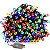 Indoor/Outdoor String Lights with 8 Flash Changing Modes USB Power 39ft 100LED Wire Lights Waterproof Fairy Twinkle Decorative Lights for Party/Christmas/Patio/Home (Colorful Include Power Adapter)