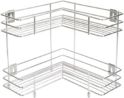 Swastik L Corner Shape Stand,Double Layer 2-Tier Stainless Steel Multipurpose Storage Rack/Shelf - Kitchen, Bathroom
