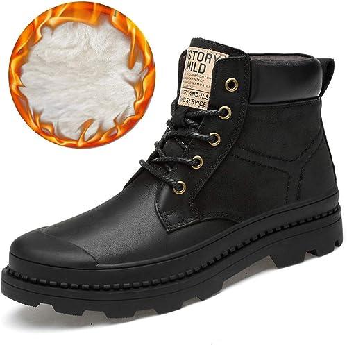 Botines cálidos de Invierno de Piel Genuina de la Mejor Calidad de los hombres,zapatos para hombres