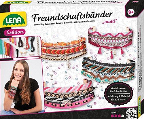 LENA 42117 – Kit de Bricolage Multi Bracelets d'amitié Grand Format Complet avec 240 Perles, Rubans en Satin, Fils, chaînes et fermoirs pour Enfants à partir de 8 Ans
