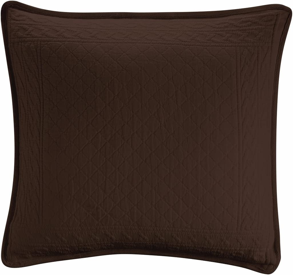 Royal Heritage Home Williamsburg William and Mary Matelasse 18-Inch Square Pillow, Chocolate