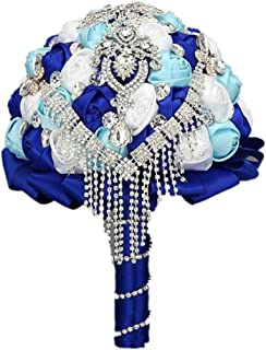 Wedding Bouquet ,Bride Holding Flowers , Water Drops (Royal Blue + sky blue + white) by Flyme