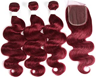 X-tress Brazilian 95g/bundles 3 Burgundy Bundles with Free Part Lace Closure Body Wave Human Bundles Hair 100% Human Hair Weave BURG Color Red Hair Bundles Mixed Length (12 14 16+10)