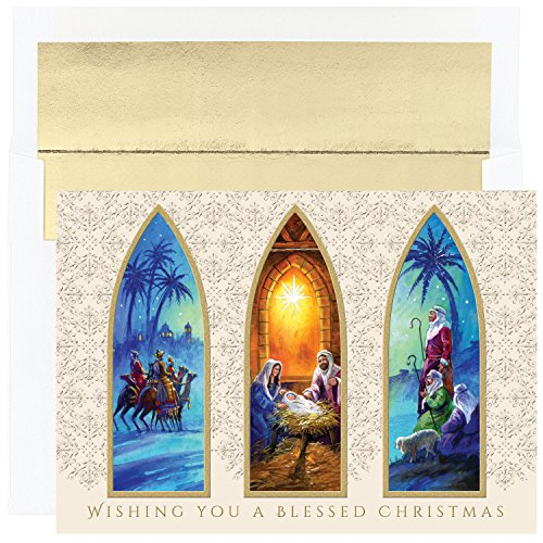 Masterpiece Studios Holiday Collection 16-Count Boxed Embossed Religious Christmas Cards with Foil-Lined Envelopes, 7.8' x 5.6', Christmas Triptych