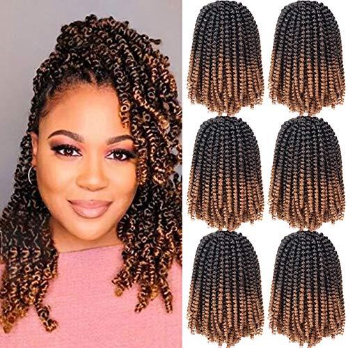 6 Packs Spring Twist Braiding Hair Spring Twists Bomb Twist Hair Synthetic Fiber Fluffy Twist Crochet Braids Low Temperature Twist Crochet Hair for Black Women Braiding Hair(8inch,T1B/4/30)