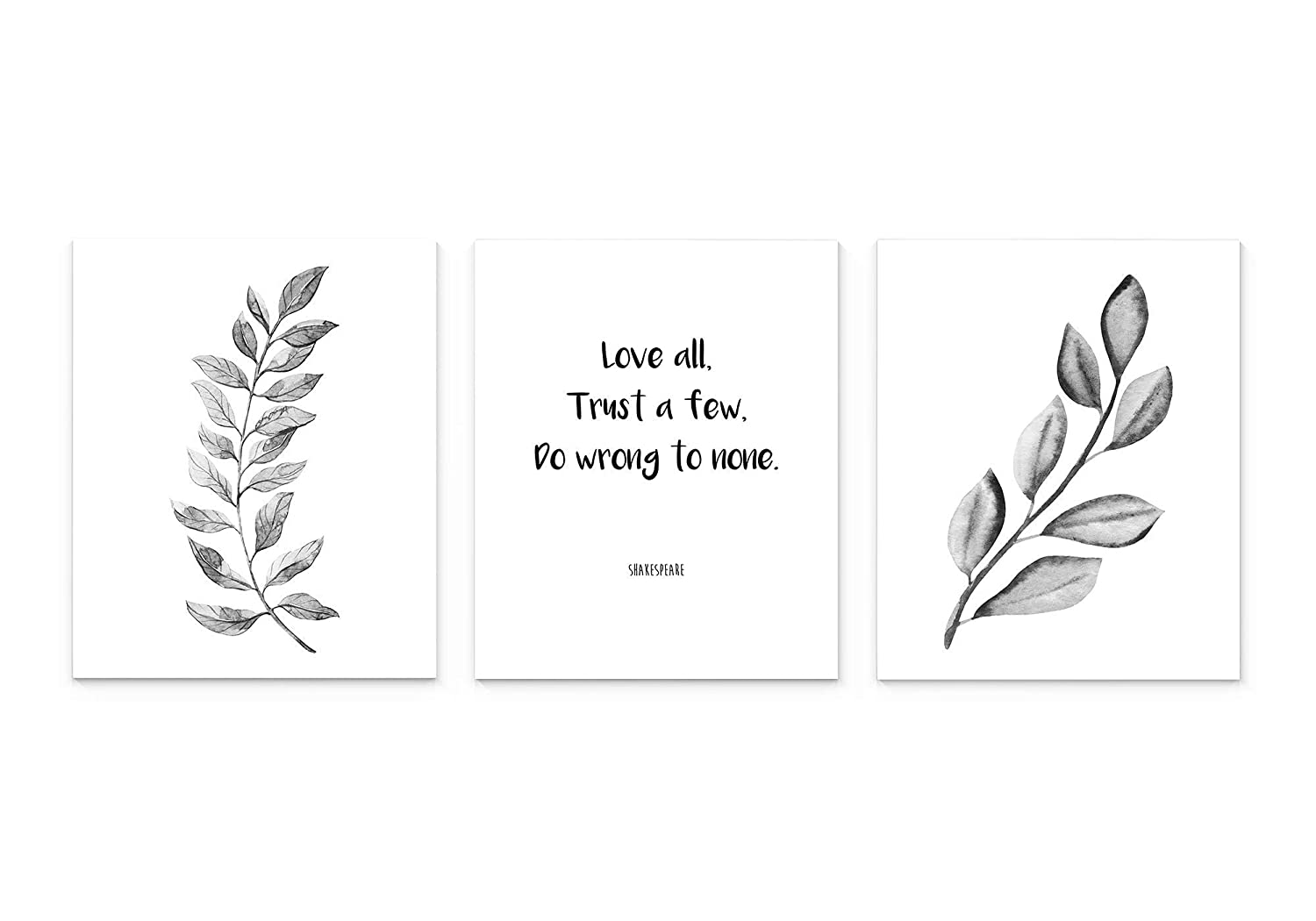 unisex Modern Black Regular store And White Tropical Leaf All A Love Trust Typography