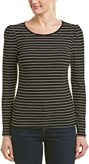 Womens Long Sleeve Puff Shoulder Thin Ribbed Stripe Top