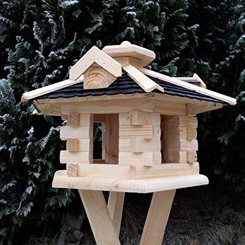 Qualitäts Vogelhaus mit Holzschindeln 6 Eck lasiert Vogelhäuser-Vogelfutterhaus großes Vogelhäuschen-aus Holz Wetterschutz (Schwarz) - 3