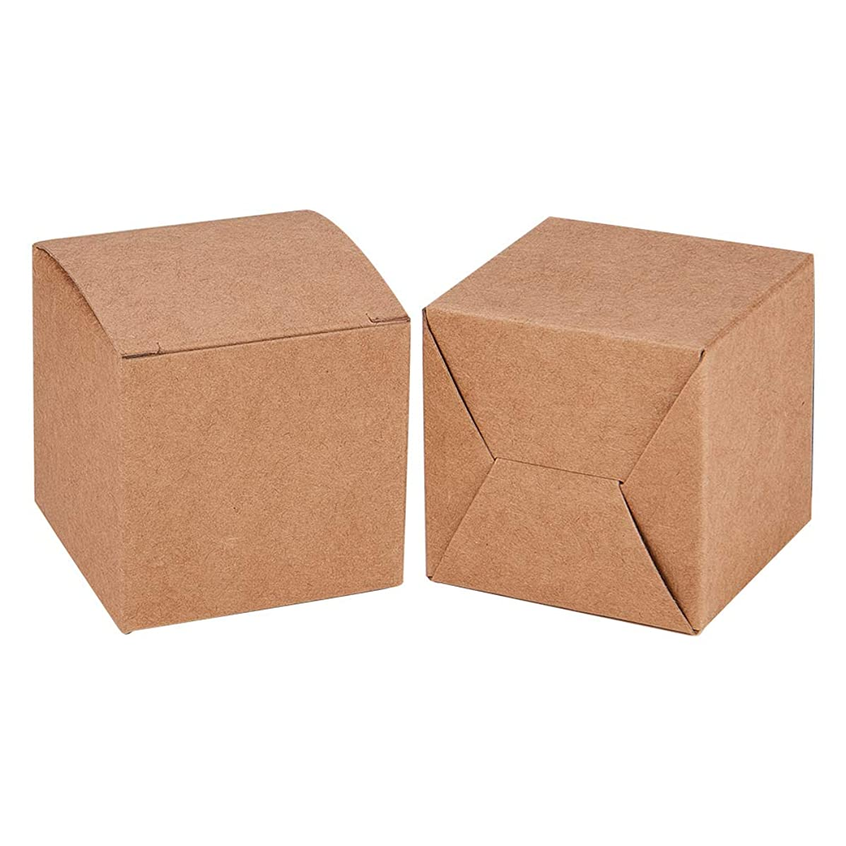 BENECREAT 50PCS Gift Boxes Brown Paper Boxes Party Favor Boxes 2 x 2 x 2 Inches with Lids for for Gift Wrapping, Wedding Party Favors