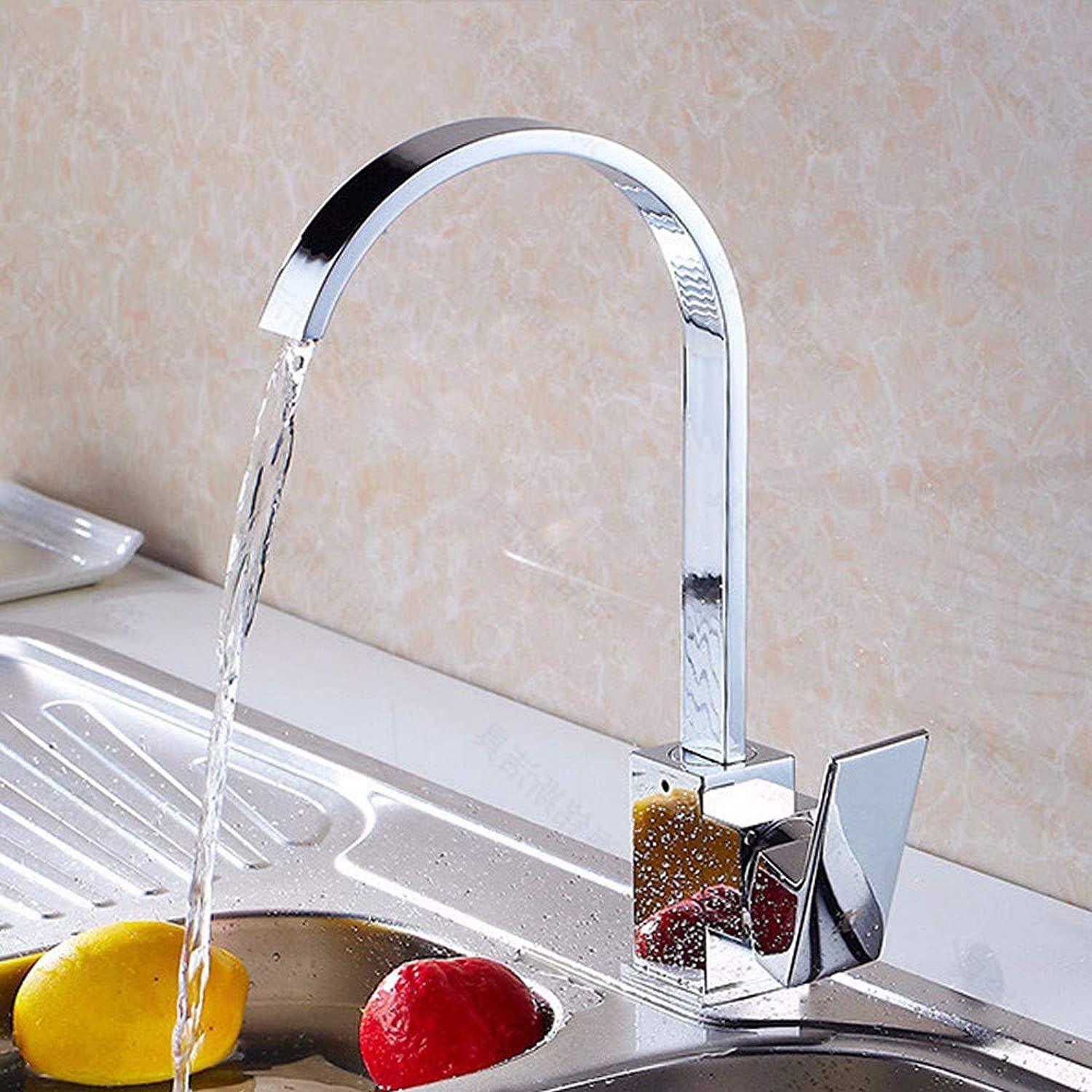 Kitchen Taps European Style Retro Single Handle redating Quartet Kitchen Faucet, Hot and Cold Mixing Kitchen Sink Faucet Copper(Plating),F