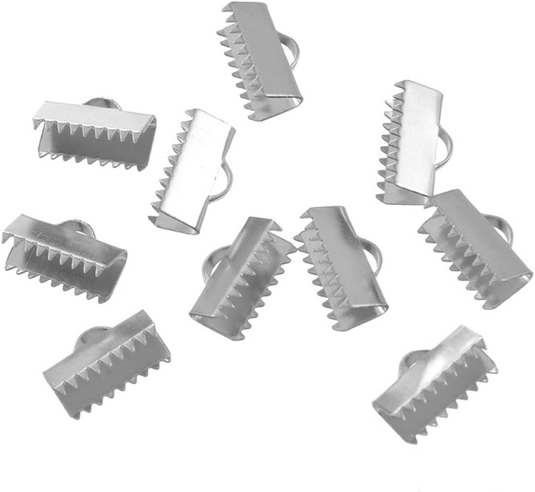 VALYRIA 10pcs Stainless Steel Silver Cord Crimp Ends Bail Connectors Findings 6.6x6.1mm