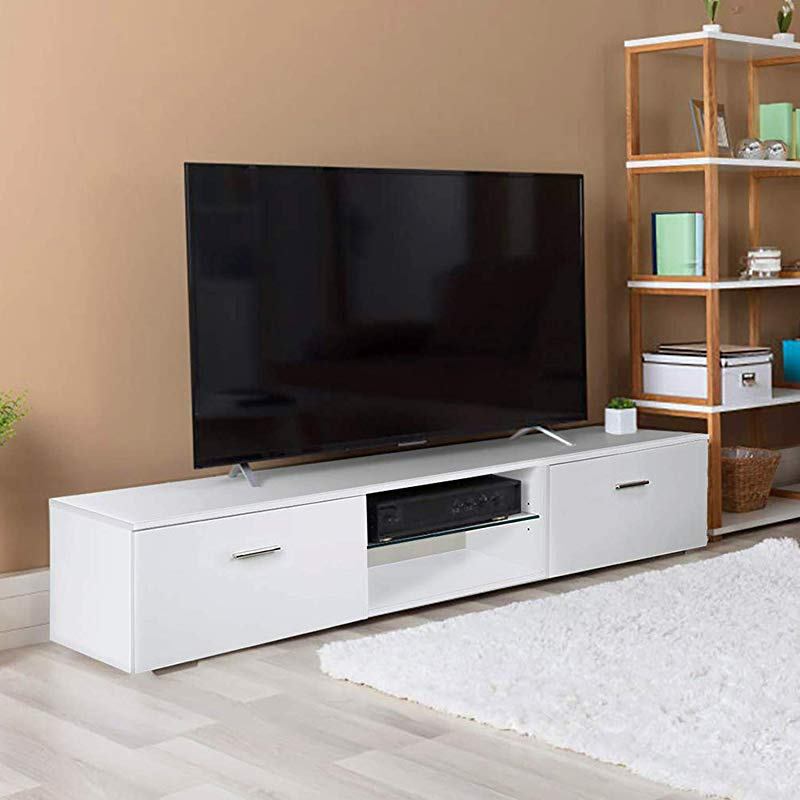 TUSY White TV Stand For 65 Inch TV Stands Media Console Entertainment Center Television Table 2 Storage Cabinet 2 Shelves For Living Room Bedroom