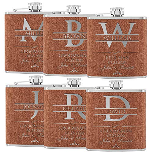 Set of 6, Groomsmen Gifts - Personalized Groomsman Flask w/Name, Title, Date - Cherry Wood - Groomsmen Proposal Gifts w/Optional Gift Box, Groom's Drinking Team, Bachelor Party Gifts - Best Man #D2