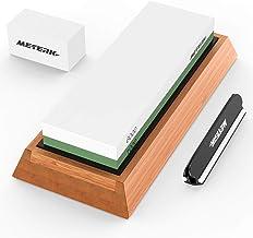 Meterk Slijpsteen, 2-in-1 professionele slijpsteen voor messen met korrel 1000/6000 incl. messenslijper, waterslijpsteen o...