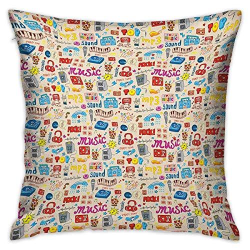 NA Music Square Custom Pillowcase Retro Pop Art Style Music Icons Casette...