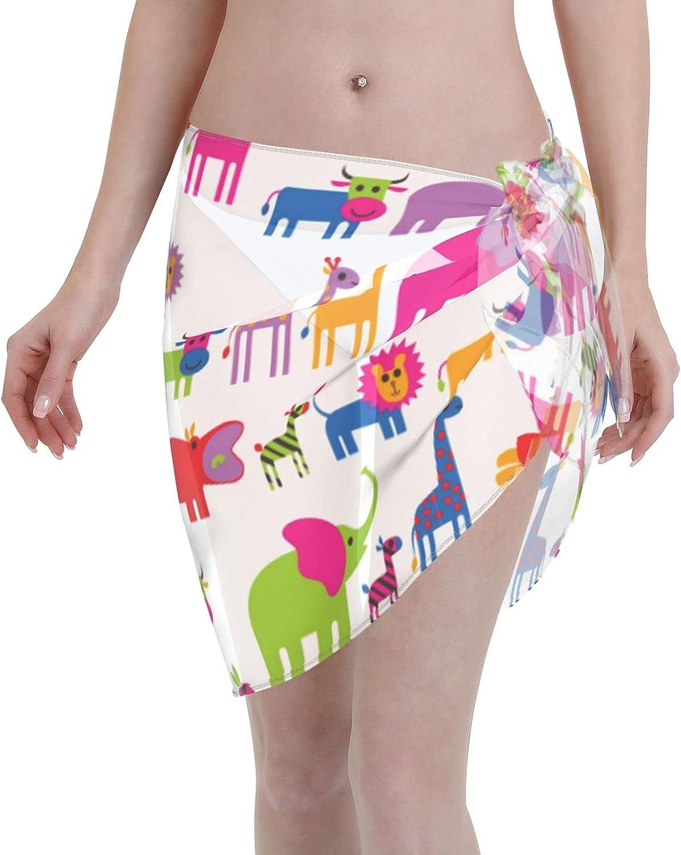 Reindeer Horn Women Short Colorful Wild Animals Sarongs Cover Ups Beach Chiffon Sarong Bikini Swimwear Black