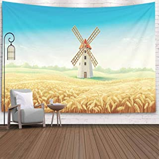 Crannel Wall Tapestry, Rural Summer Landscape Windmill Wheat Field Tapestry 80X60 Inches Wall Thanksgiving Fall Tapestries Christmas Hanging for Dorm Room Living Home Decorative