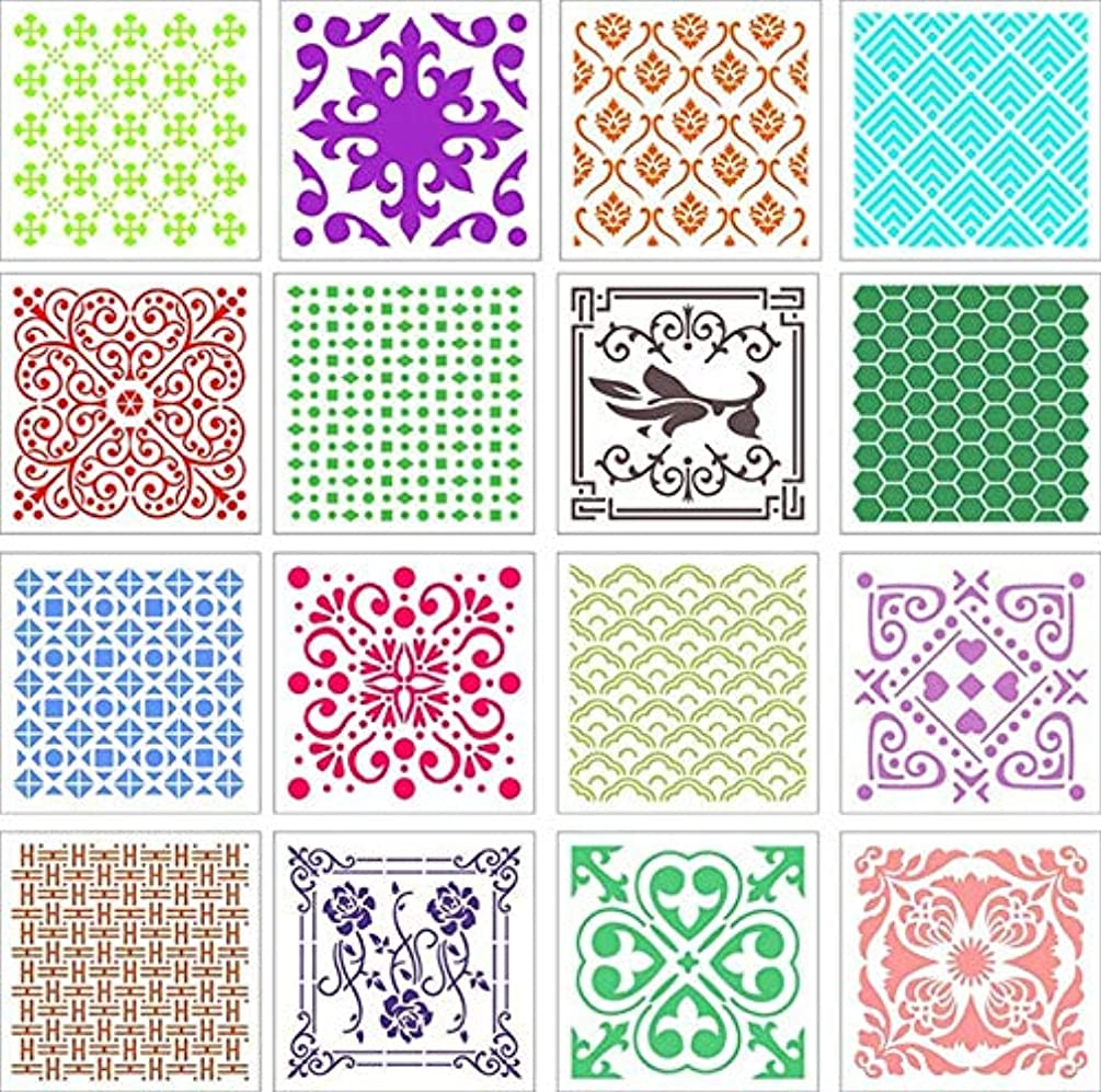 (8x8 inch) 16 Pack Mandala Dot Painting Templates Stencils for DIY Painting Art Projects Art Canvas Wood Furniture Cards Painting (B, 20cmx20cm (8x8 inch))