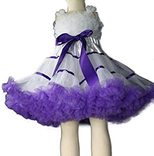 Fluffy Tulle Pleated Tutu Skirt Princess Ballet Dance Pettiskirt Tiered Girl Dress (Color : Purple, Size : 120CM)