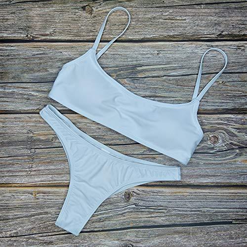 Bikini sexy sólido de dos piezas traje de baño de mujer traje de baño de moda más tamaño XL Sets traje de baño traje de baño femenino Biquini (color: SS 001 blanco, tamaño: M)