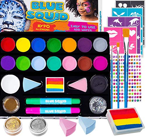 Face Paint Kit for Kids - Jumbo Stencils, 17 Large Paints, Rainbow Cake, 168 Gems, 2 Hair Chalks 3 Brushes 2 Glitter Professional Quality Body Painting Set Halloween Makeup Skin Safe (1 Pack)