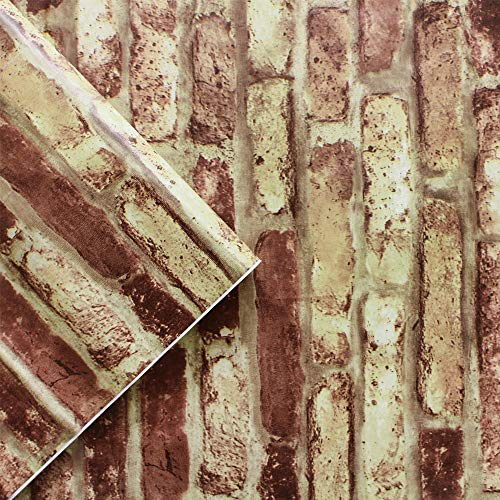 Self-Adhesive Wallpaper Stone Wallpaper Peel & Stick Wallpaper Red White Rock Stitching Vinyl Wallpaper for Wall Decal