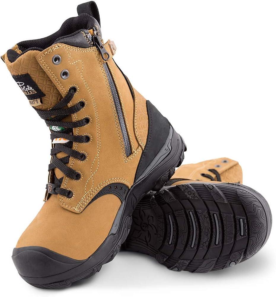 Women's 8″ Waterproof Steel Toe Safety Work Boots with Zipper – PF648 - Tan