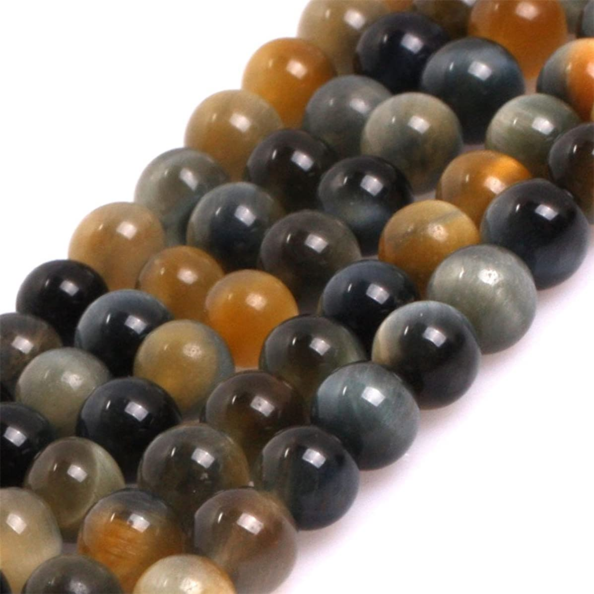 AAA Grade Natural Round Genuine Gemstone Semi Precious Stone Beads for Jewelry Making 15'' (Dream Lace Gold Blue Tiger eye/4MM)