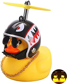 BYMYWAY Car Decoration Rubber Duck Helmet Toys with LED Light for Outdoor