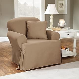 SureFit Cotton Duck T-Cushion Chair Slipcover, Linen