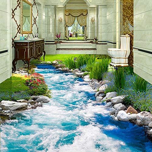 Papeltapizfotográfico PVC autoadhesivo impermeable 3D baldosas de suelo adhesivo mural clásico cascadas paisaje3D Fresco-150x105cm