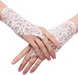 The Bride Marriage Dress Gathered Rhinestone Lace Sequins Satin Bridal Party Gloves Driving Wedding Gloves