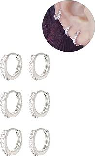3 Pairs Sterling Silver Small Hoop Earrings Tiny Cartilage Earring Cubic Zirconia Cuff Earrings Mini Hoops Earrings Ear Piercing for Women Girls